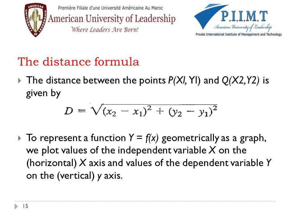 The distance formula  The distance between the points P(Xl, Yl) and Q(X2, Y2) is given by  To represent a function Y = f(x) geometrically as a graph