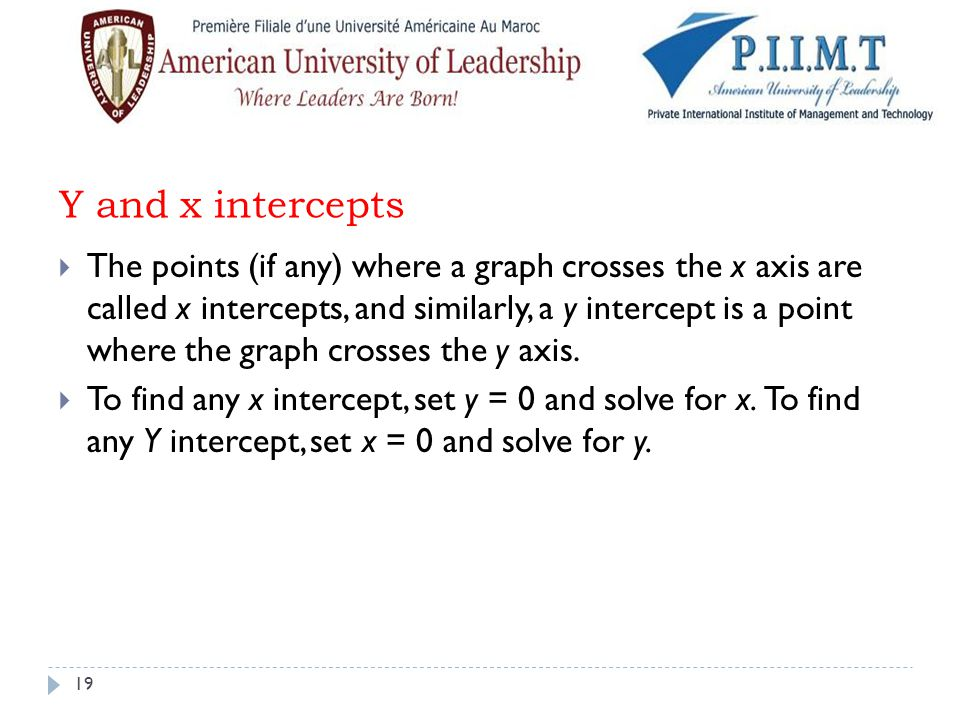 Y and x intercepts  The points (if any) where a graph crosses the x axis are called x intercepts, and similarly, a y intercept is a point where the g