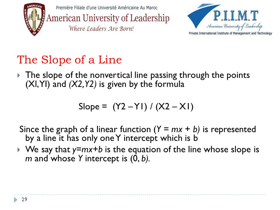 The Slope of a Line  The slope of the nonvertical line passing through the points (Xl, YI) and (X2, Y2) is given by the formula Slope = (Y2 – Y1) / (