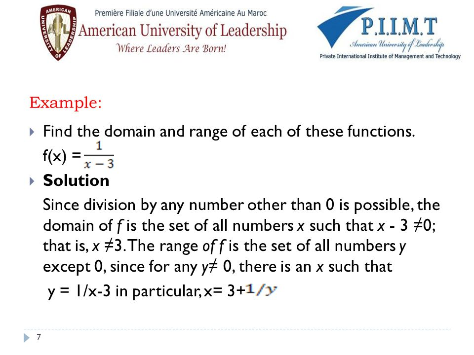 Example:  Find the domain and range of this function.