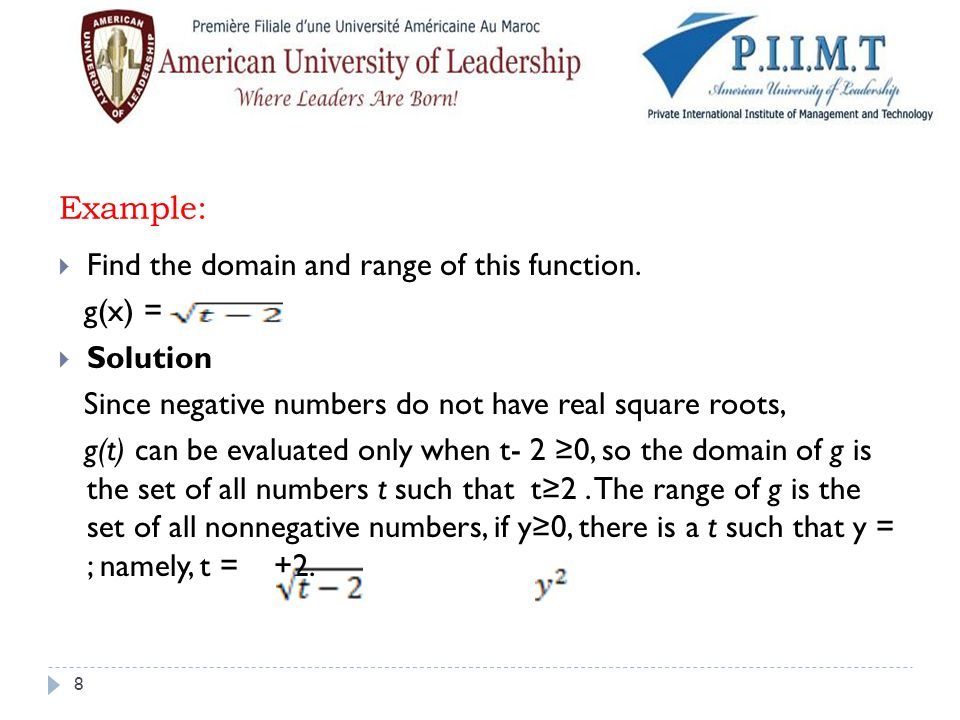 Example:  Find the domain and range of this function. g(x) =  Solution Since negative numbers do not have real square roots, g(t) can be evaluated o