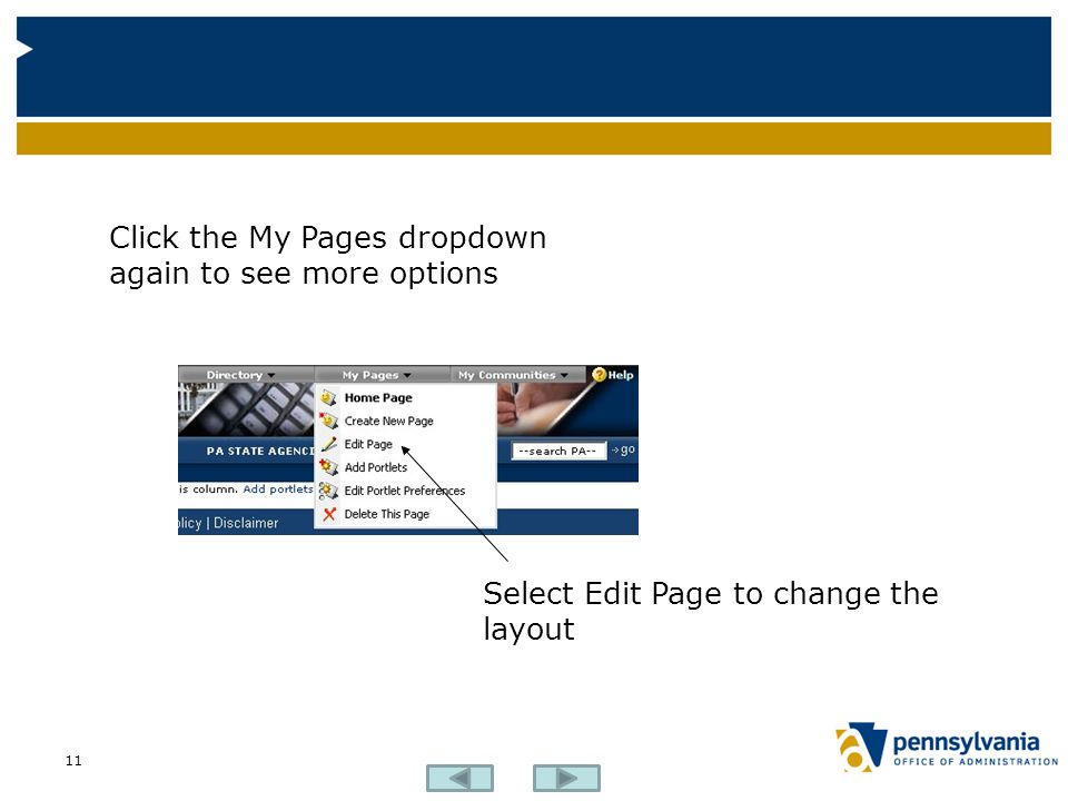 11 Click the My Pages dropdown again to see more options Select Edit Page to change the layout