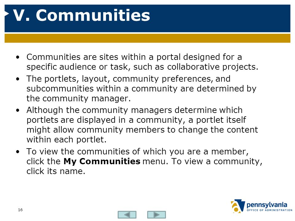 V. Communities 16 Communities are sites within a portal designed for a specific audience or task, such as collaborative projects. The portlets, layout