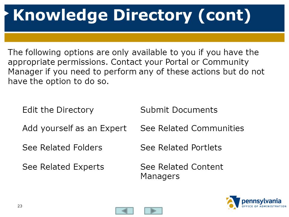 Knowledge Directory (cont) 23 The following options are only available to you if you have the appropriate permissions.