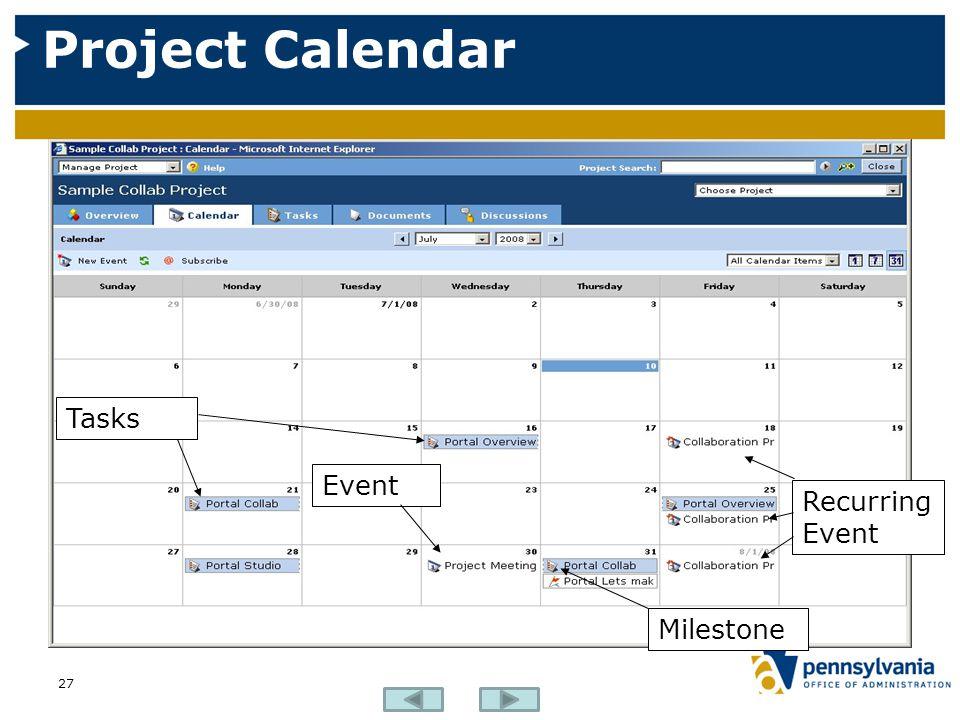 Project Calendar 27 Tasks Event Recurring Event Milestone