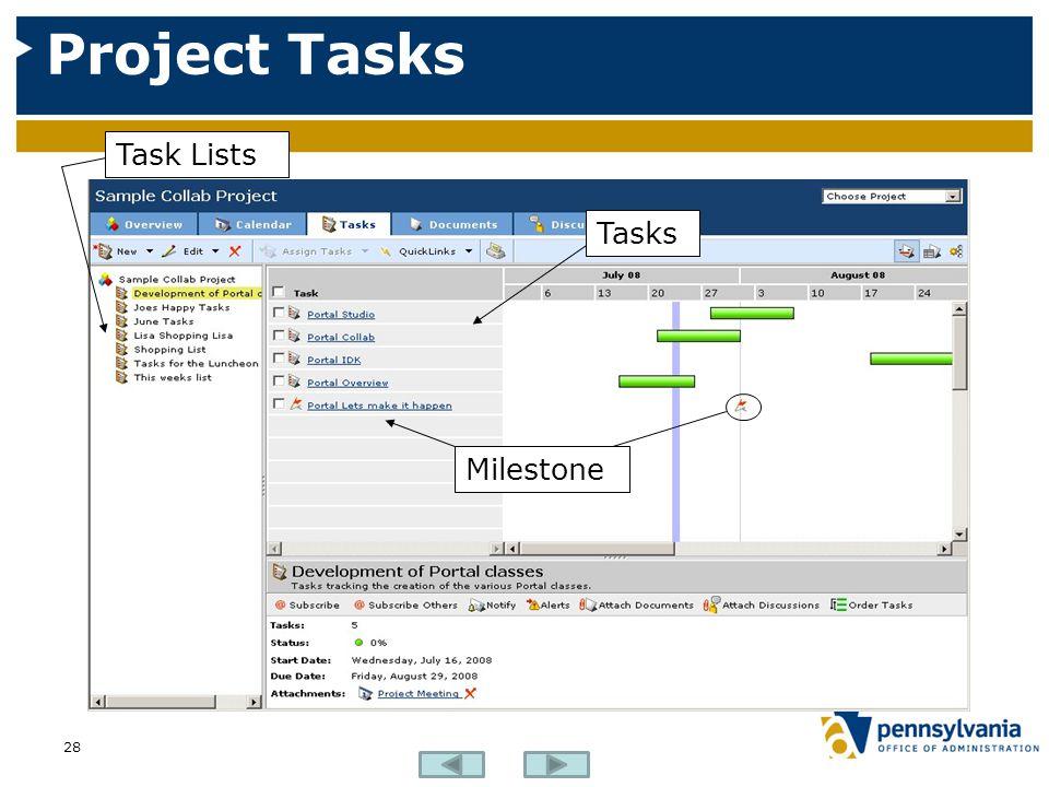 Project Tasks 28 Task Lists Tasks Milestone