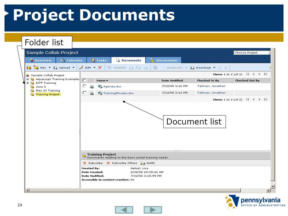 Project Documents 29 Folder list Document list