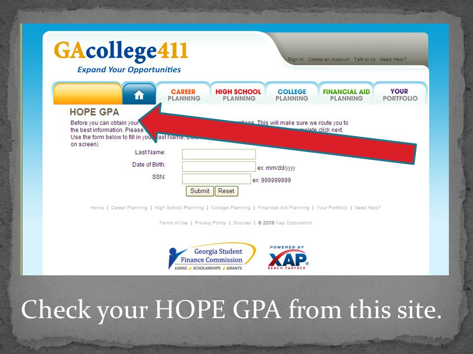 Check your HOPE GPA from this site.