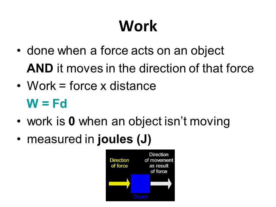 Work done when a force acts on an object AND it moves in the direction of that force Work = force x distance W = Fd work is 0 when an object isn't moving measured in joules (J)