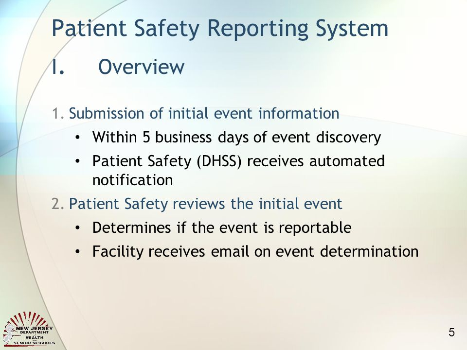 Patient Safety Reporting System I.