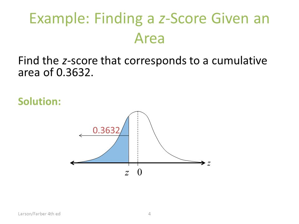 Example: Finding a z-Score Given an Area Find the z-score that corresponds to a cumulative area of 0.3632.