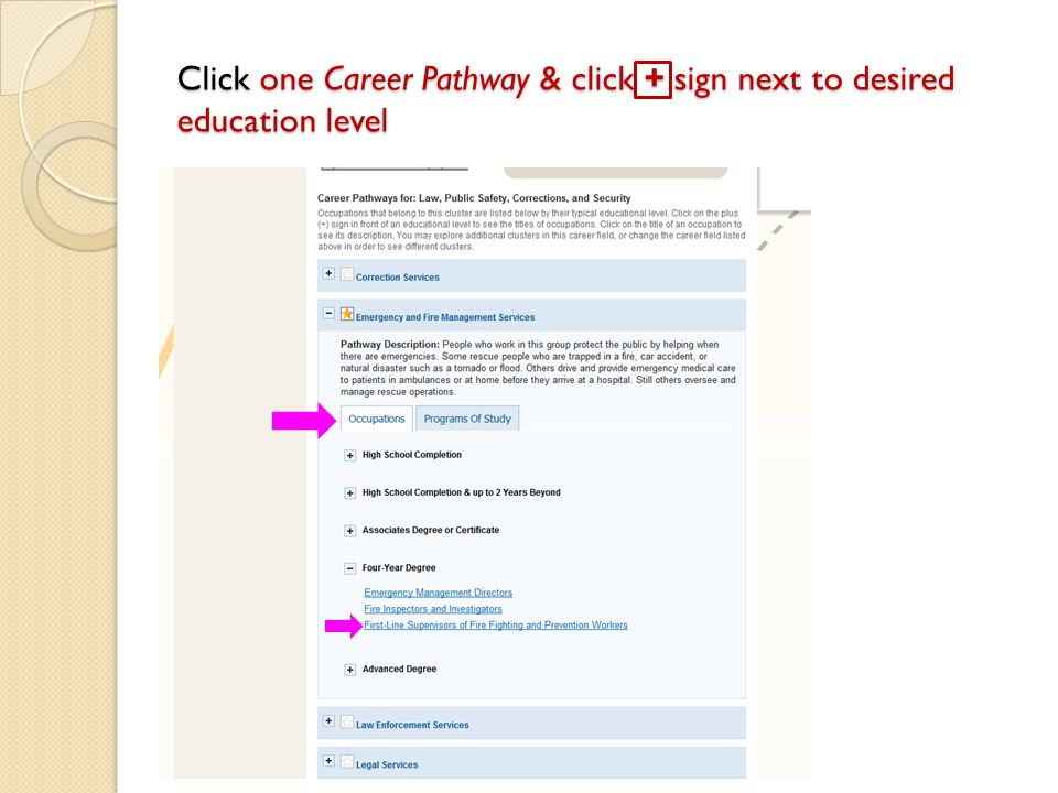 Click one Career Pathway & click + sign next to desired education level