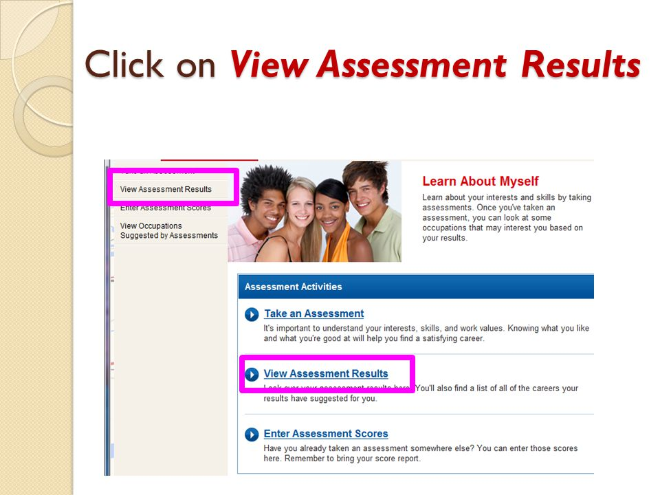Click on View Assessment Results