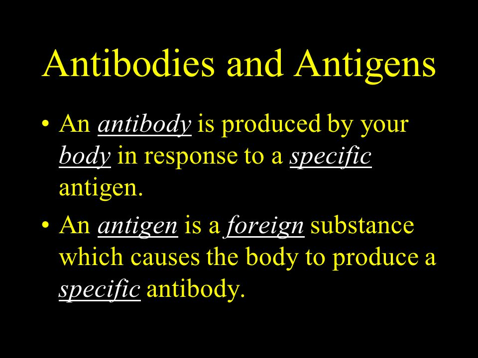 Antibodies and Antigens An antibody is produced by your body in response to a specific antigen. An antigen is a foreign substance which causes the bod
