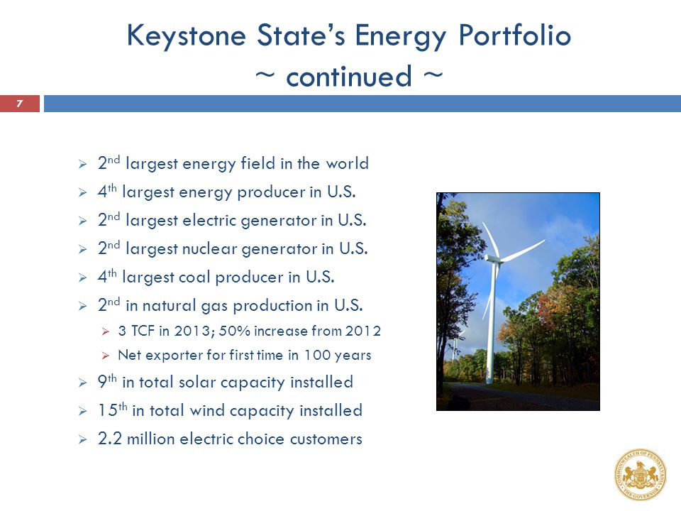 Keystone State's Energy Portfolio ~ continued ~  2 nd largest energy field in the world  4 th largest energy producer in U.S.  2 nd largest electri