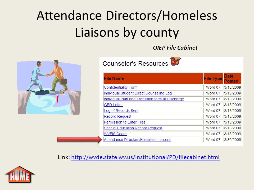 Attendance Directors/Homeless Liaisons by county OIEP File Cabinet Link: http://wvde.state.wv.us/institutional/PD/filecabinet.htmlhttp://wvde.state.wv.us/institutional/PD/filecabinet.html