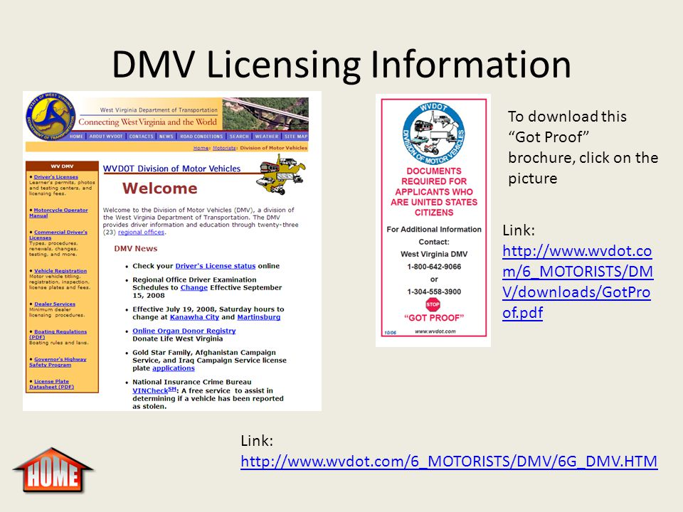 "DMV Licensing Information Link: http://www.wvdot.com/6_MOTORISTS/DMV/6G_DMV.HTM http://www.wvdot.com/6_MOTORISTS/DMV/6G_DMV.HTM To download this ""Got"