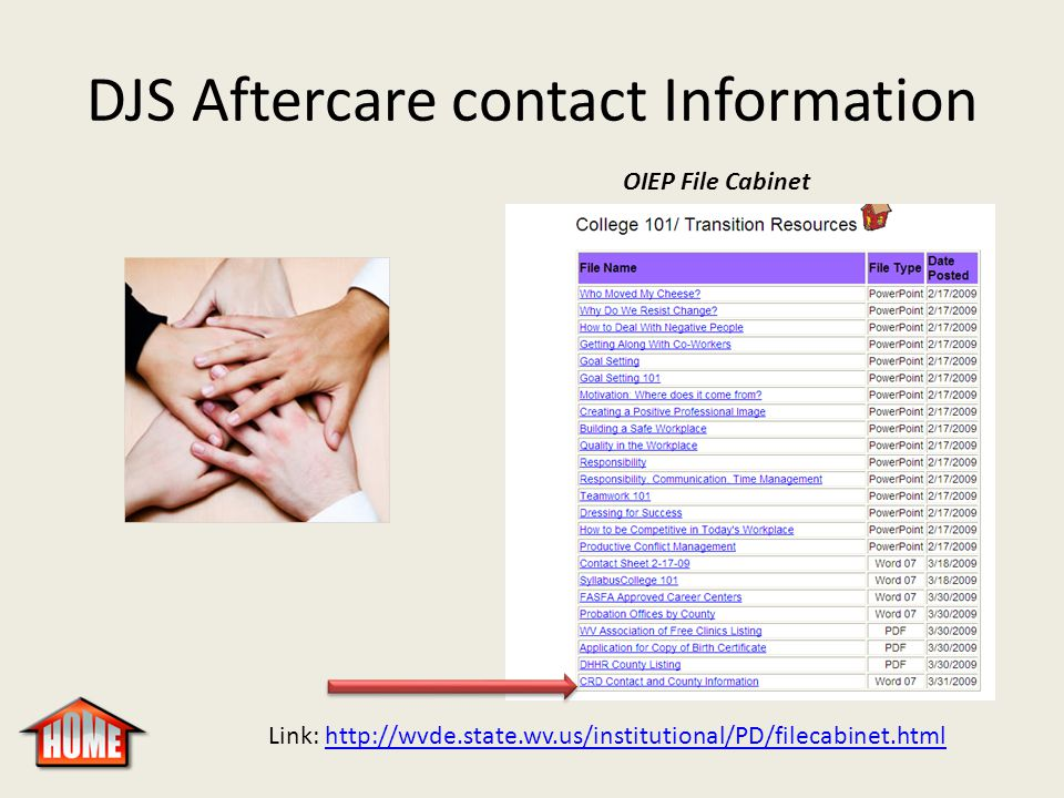 DJS Aftercare contact Information OIEP File Cabinet Link: http://wvde.state.wv.us/institutional/PD/filecabinet.htmlhttp://wvde.state.wv.us/institution