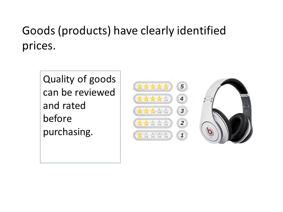 Goods (products) have clearly identified prices. Quality of goods can be reviewed and rated before purchasing.