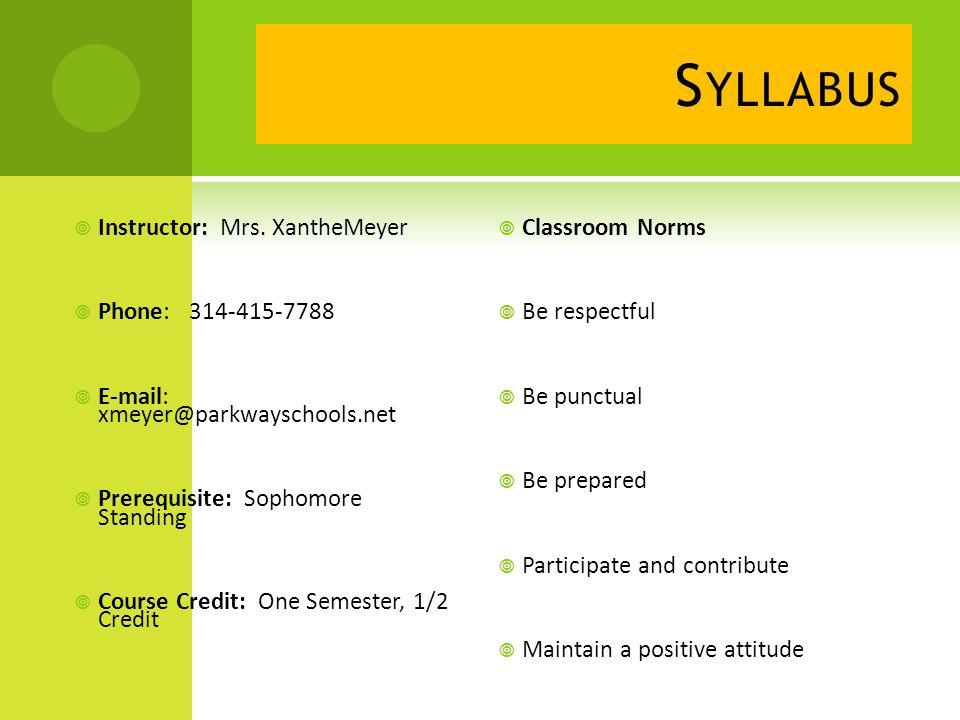 S YLLABUS  Instructor: Mrs.