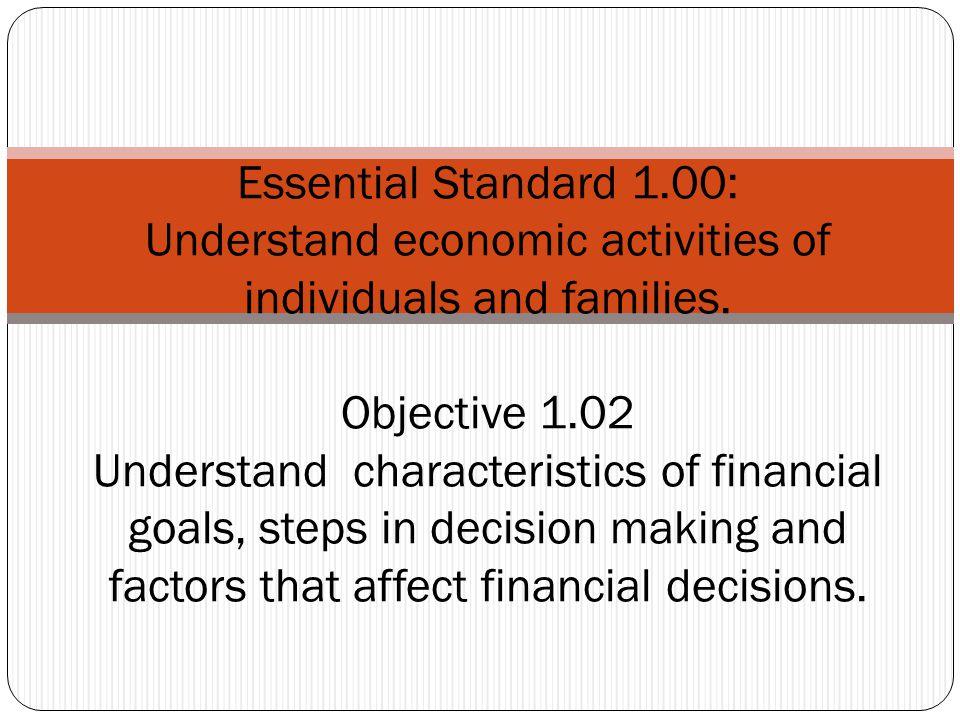 Essential Standard 1.00: Understand economic activities of individuals and families.