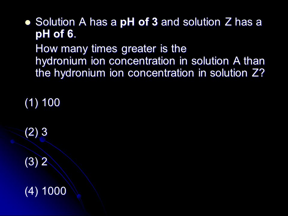 Solution A has a pH of 3 and solution Z has a pH of 6.