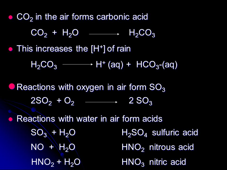 CO 2 in the air forms carbonic acid CO 2 in the air forms carbonic acid CO 2 + H 2 O H 2 CO 3 This increases the [H + ] of rain This increases the [H + ] of rain H 2 CO 3 H + (aq) + HCO 3 -(aq) Reactions with oxygen in air form SO 3 Reactions with oxygen in air form SO 3 2SO 2 + O 2 2 SO 3 Reactions with water in air form acids Reactions with water in air form acids SO 3 + H 2 O H 2 SO 4 sulfuric acid NO + H 2 O HNO 2 nitrous acid HNO 2 + H 2 O HNO 3 nitric acid HNO 2 + H 2 O HNO 3 nitric acid