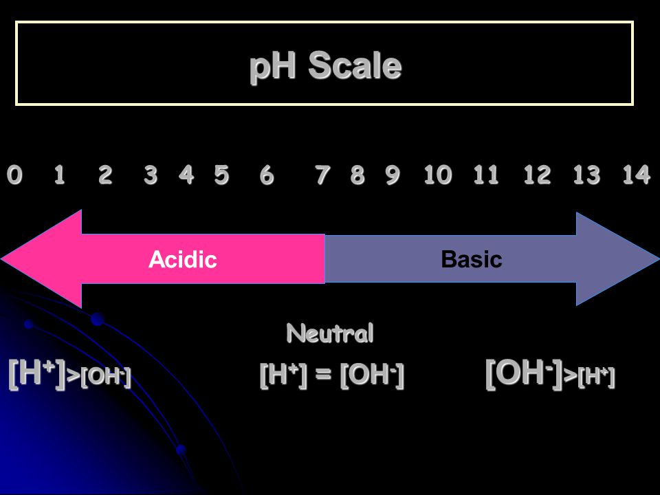 pH Scale 0 1 2 3 4 5 6 7 8 9 10 11 12 13 14 Neutral [H + ] > [OH - ] [H + ] = [OH - ] [OH - ] > [H + ] Acidic Basic