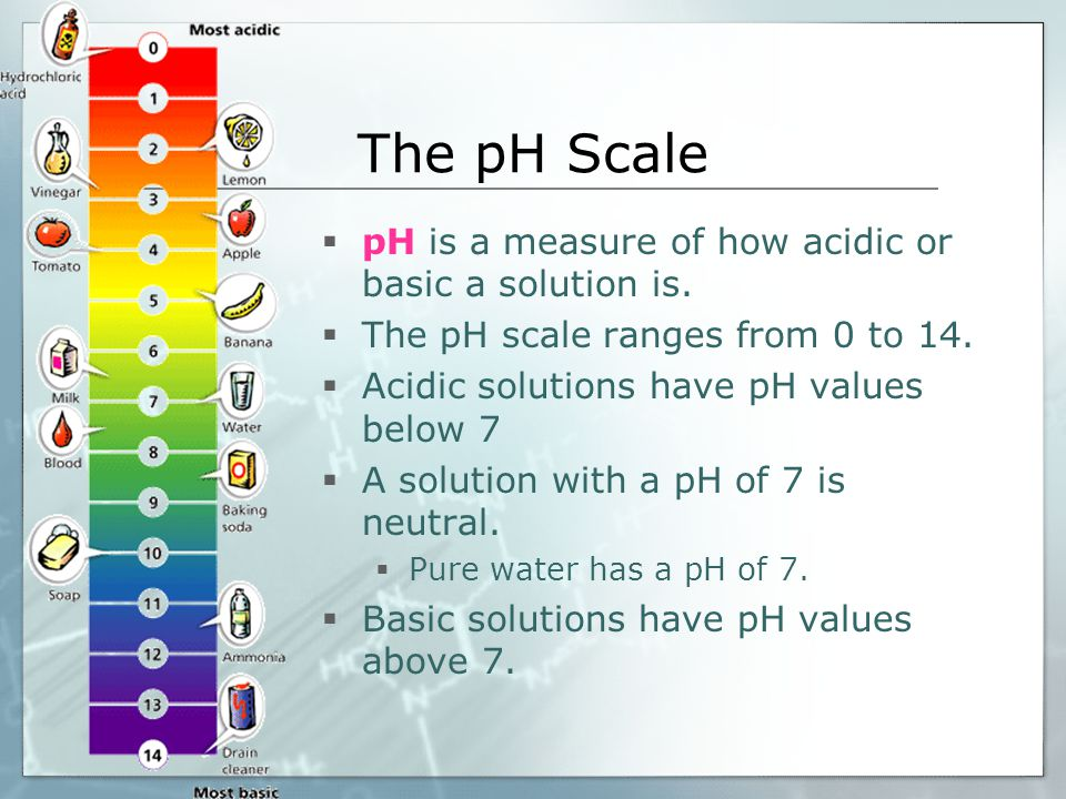The pH Scale  pH is a measure of how acidic or basic a solution is.  The pH scale ranges from 0 to 14.  Acidic solutions have pH values below 7  A