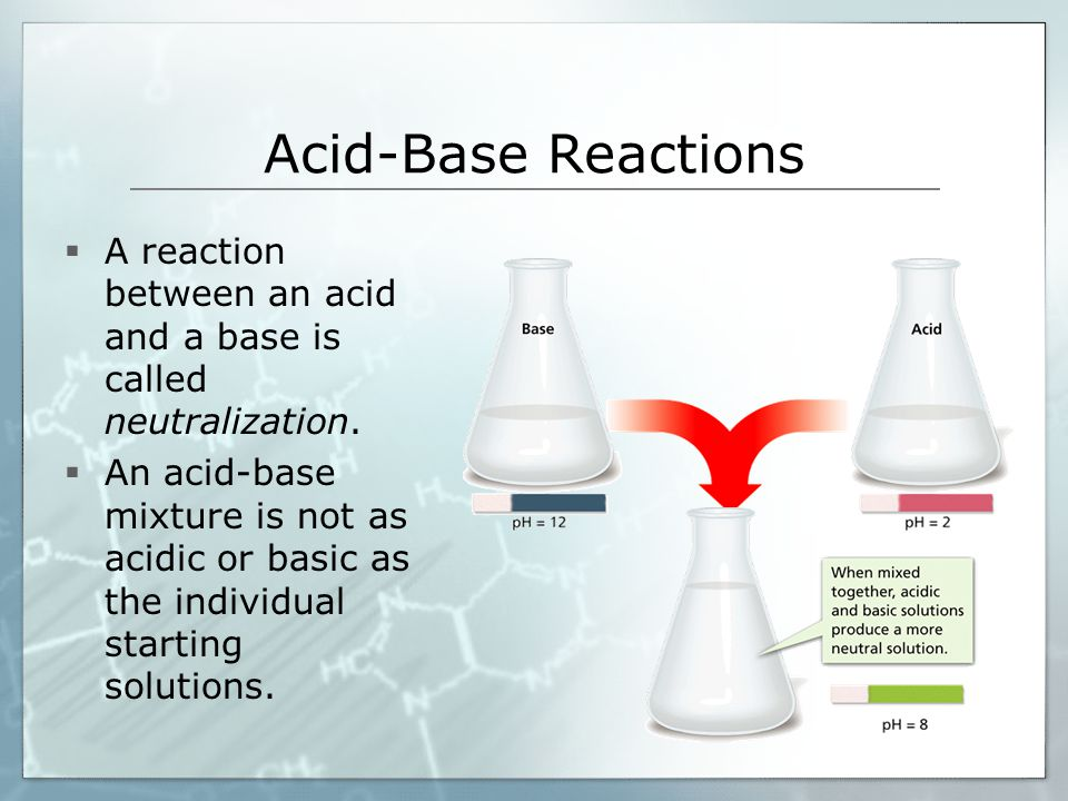 Acid-Base Reactions  A reaction between an acid and a base is called neutralization.  An acid-base mixture is not as acidic or basic as the individu