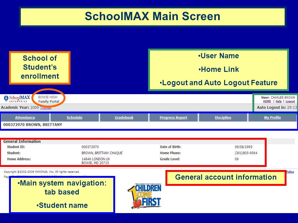 School of Student's enrollment User Name Home Link Logout and Auto Logout Feature Main system navigation: tab based Student name General account infor