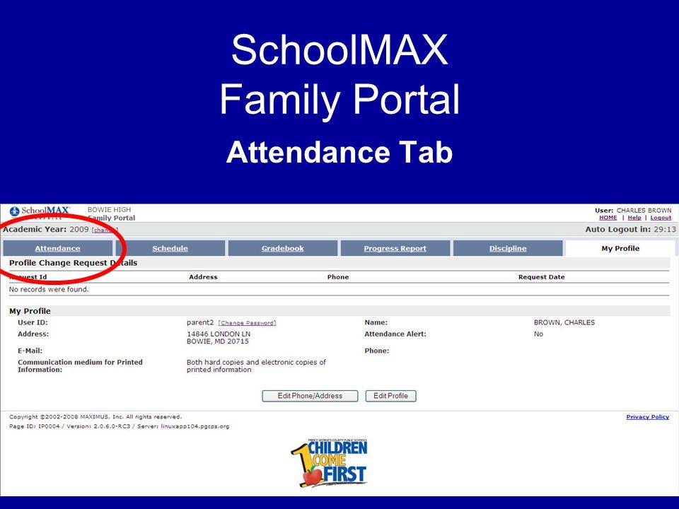 SchoolMAX Family Portal Attendance Tab