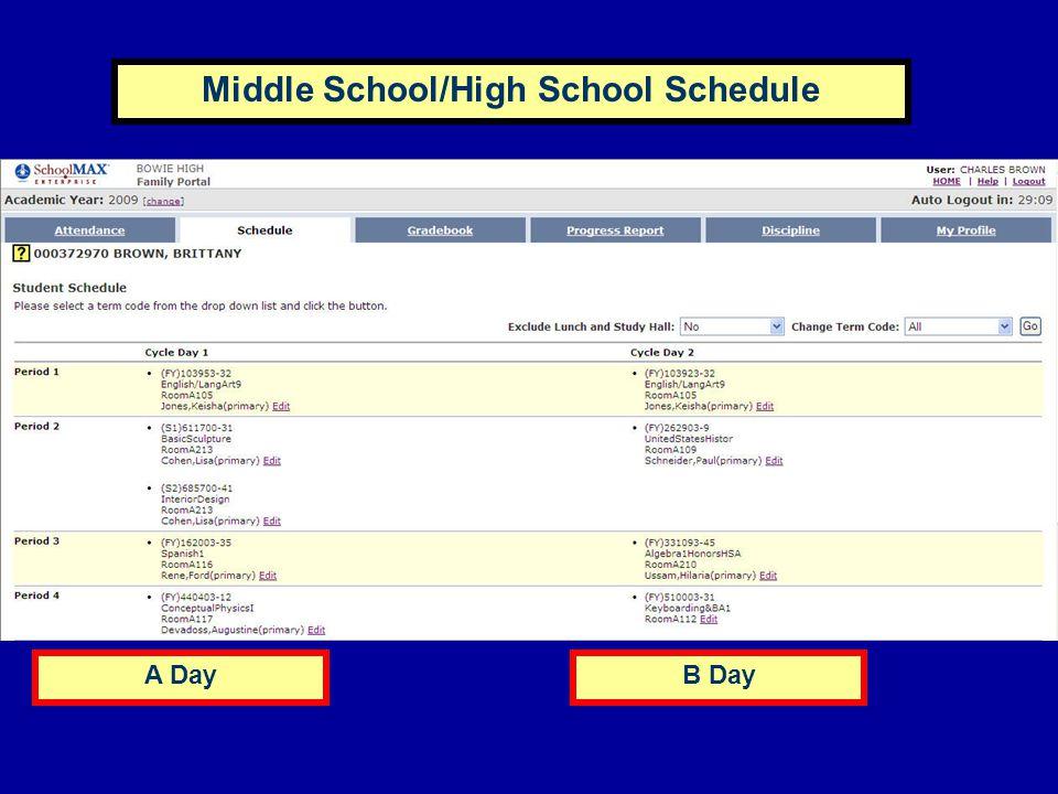 A DayB Day Middle School/High School Schedule