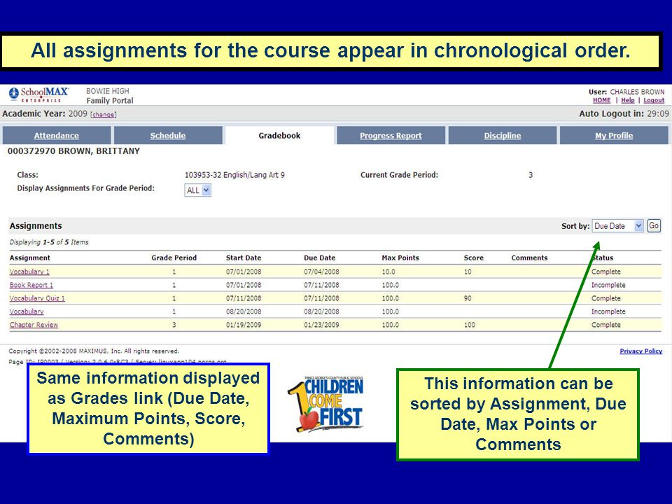 All assignments for the course appear in chronological order. Same information displayed as Grades link (Due Date, Maximum Points, Score, Comments) Th
