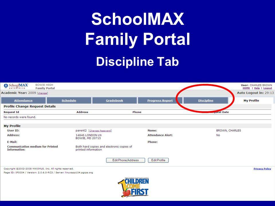SchoolMAX Family Portal Discipline Tab