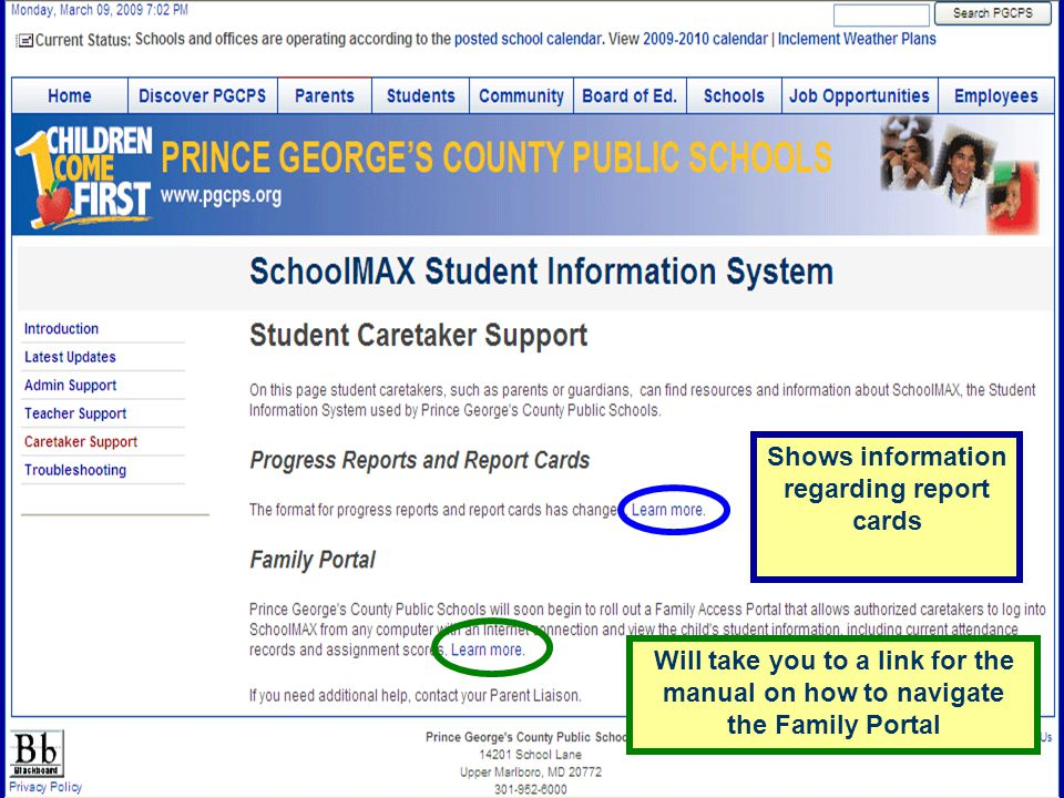 Shows information regarding report cards Will take you to a link for the manual on how to navigate the Family Portal