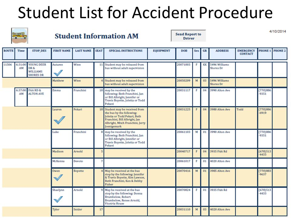 Student List for Accident Procedure