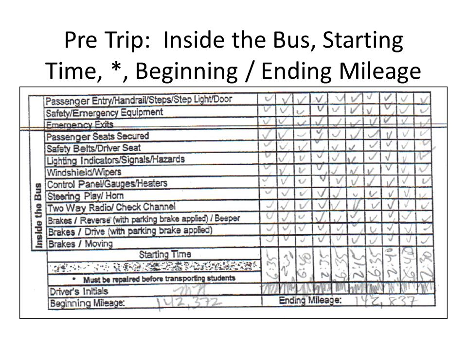 Pre Trip: Inside the Bus, Starting Time, *, Beginning / Ending Mileage