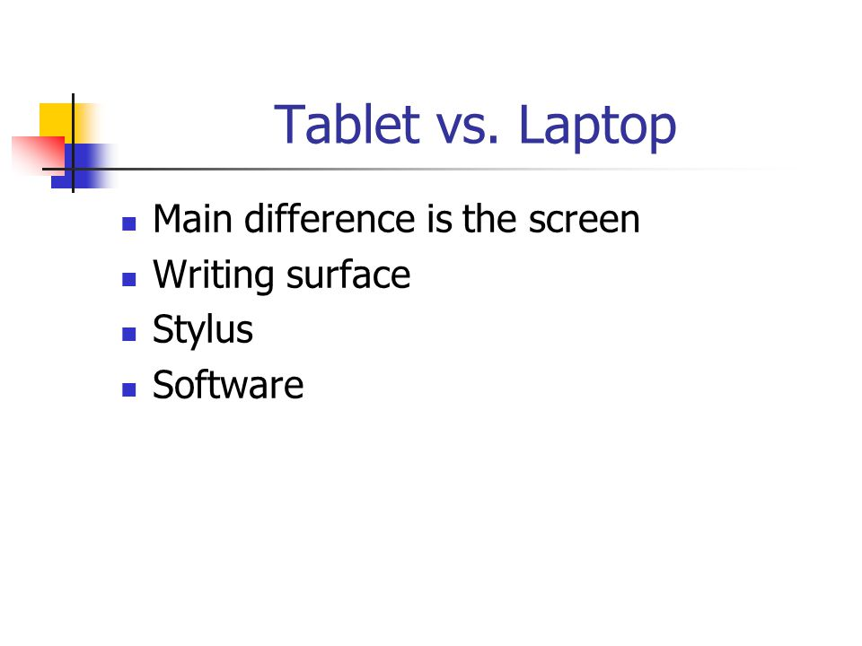 Tablet vs. Laptop Main difference is the screen Writing surface Stylus Software