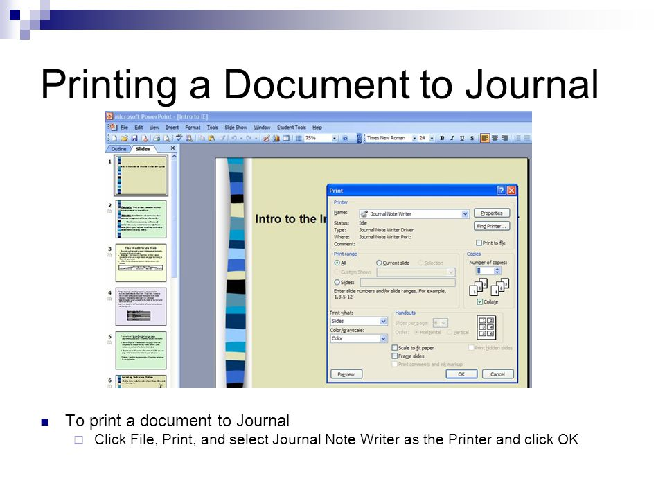 Example PowerPoint Printed to Journal