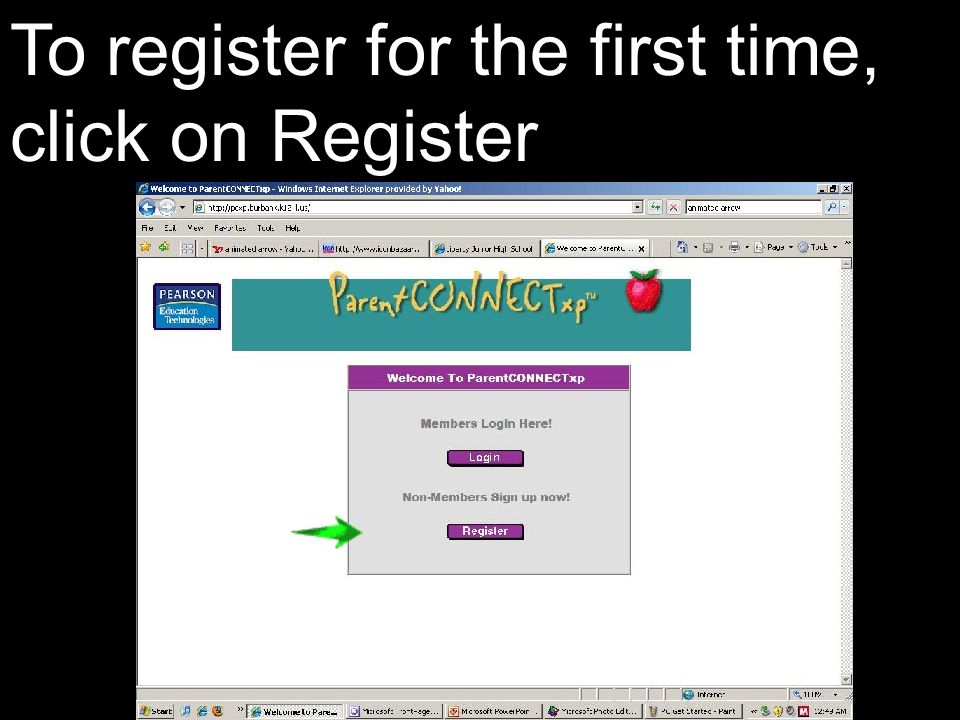 To register for the first time, click on Register