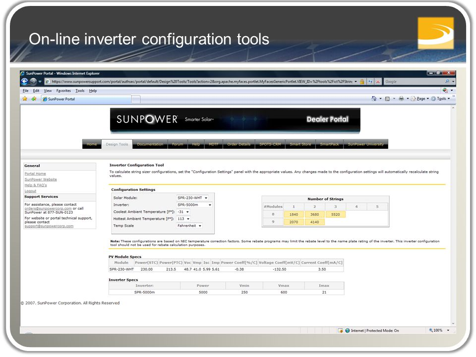 On-line inverter configuration tools