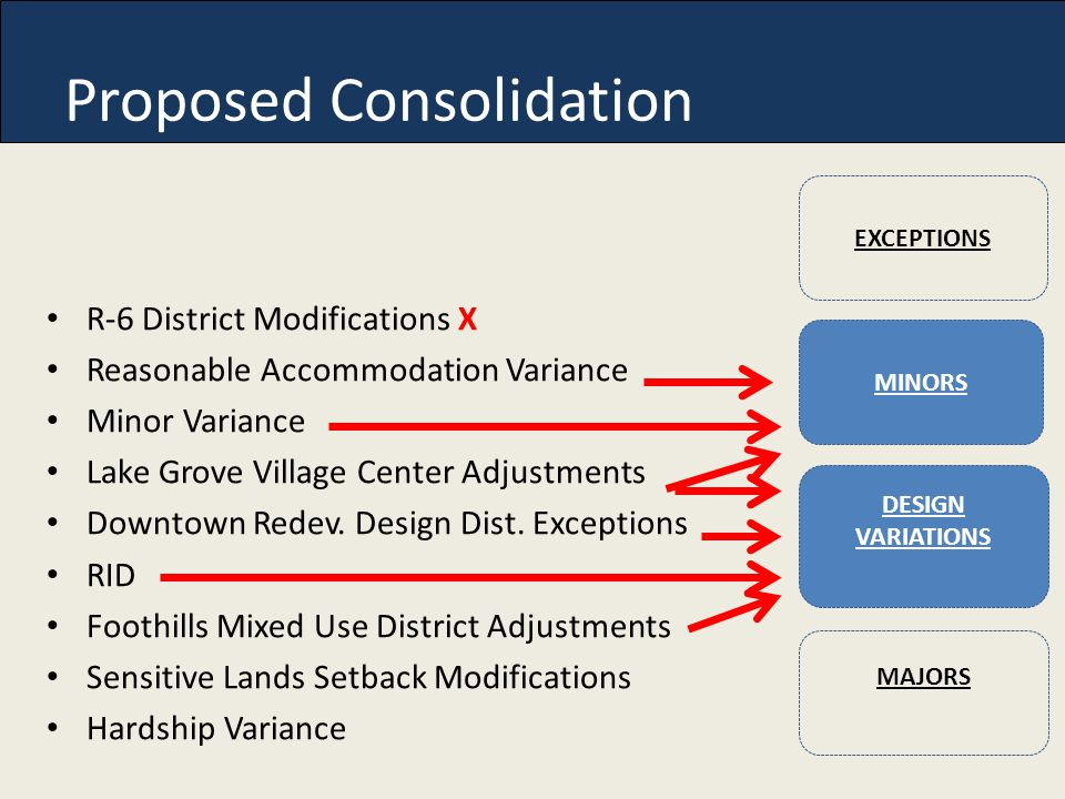 Proposed Consolidation R-6 District Modifications X Reasonable Accommodation Variance Minor Variance Lake Grove Village Center Adjustments Downtown Redev.