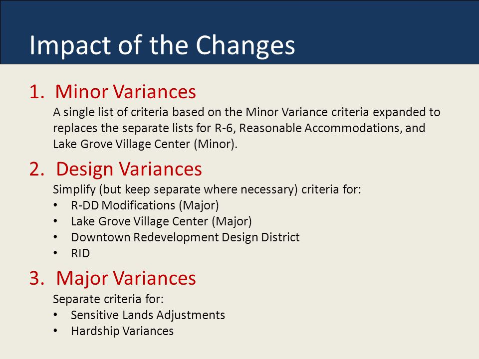 Impact of the Changes 1.