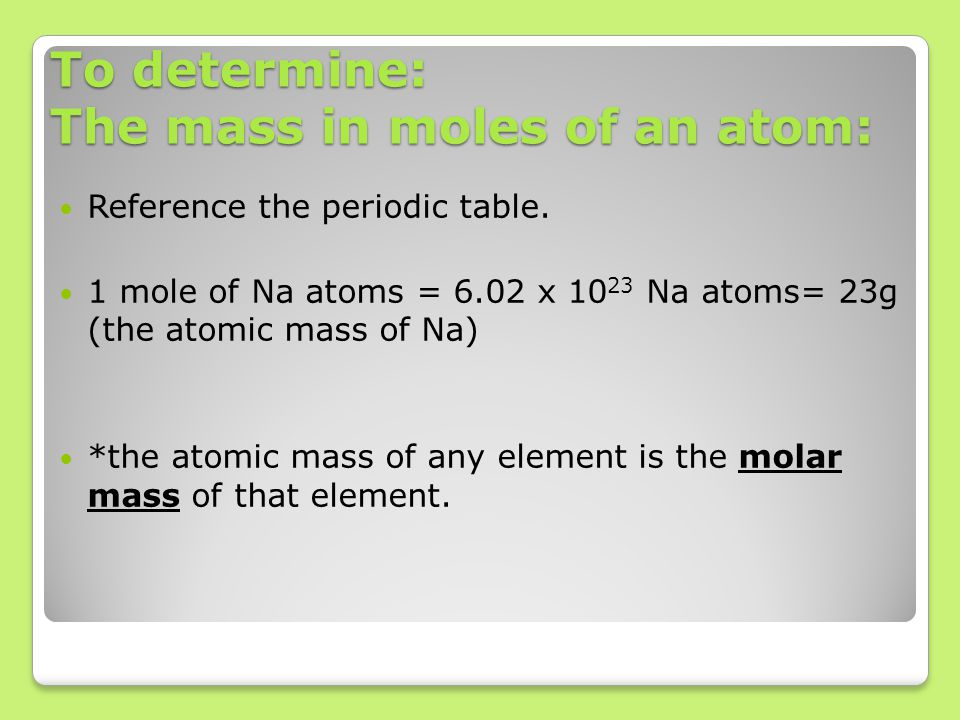 To determine: The mass in moles of an atom: Reference the periodic table.