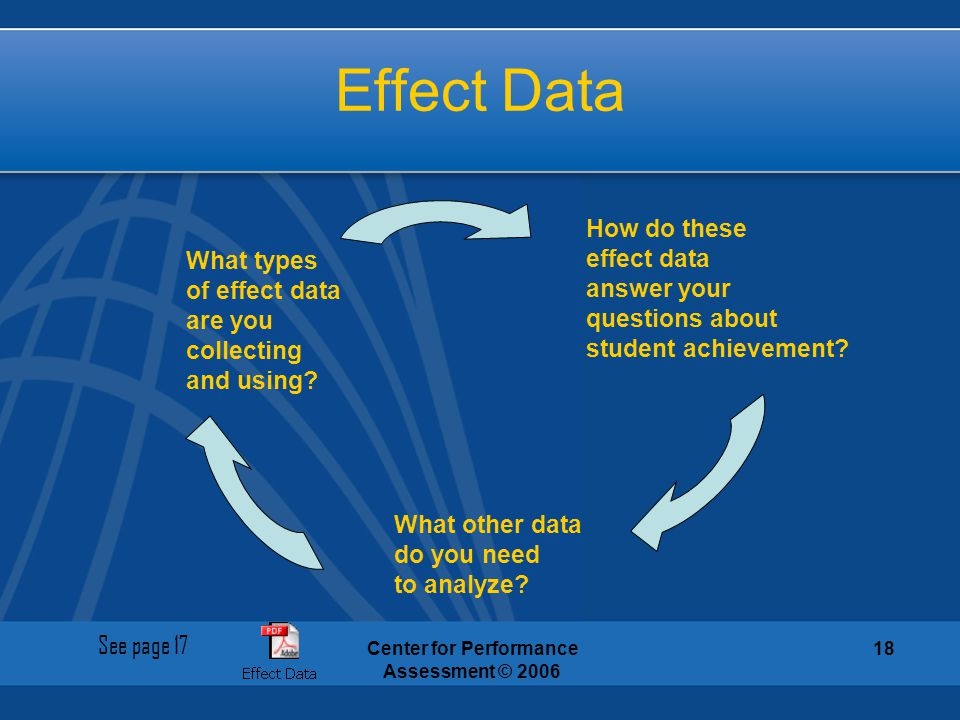 Center for Performance Assessment © 2006 18 Effect Data What types of effect data are you collecting and using? What other data do you need to analyze