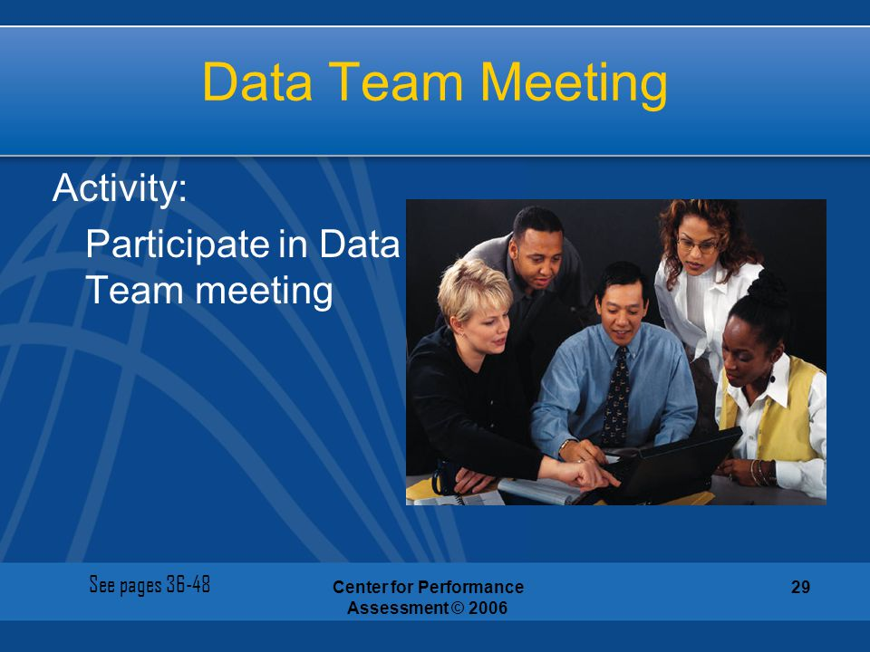 Center for Performance Assessment © 2006 29 Data Team Meeting Activity: Participate in Data Team meeting See pages 36-48