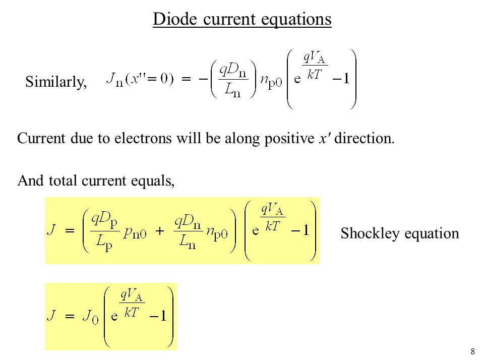 7 Current equations applied to a diode Therefore,
