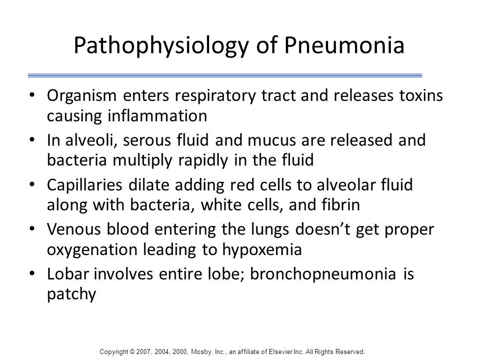 Copyright © 2007, 2004, 2000, Mosby, Inc., an affiliate of Elsevier Inc. All Rights Reserved. Pathophysiology of Pneumonia Organism enters respiratory
