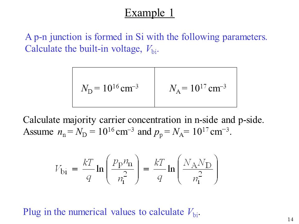 13 Depletion approximation Poisson equation We assume that the free carrier concentration inside the depletion region is zero.
